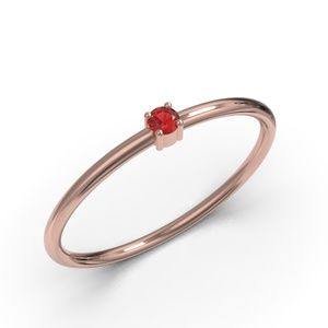 10K ROSE GOLD ROUND CUT RUBY CZ RING